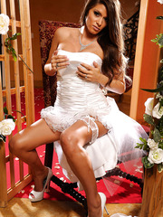 Exciting bride with Madelyn Marie spreading her sexy legs on the camera