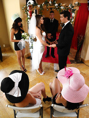 Naughty bride Madelyn Marie fucked by her bridegroom's best friend before the wedding