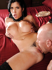 Gorgeous black haired bombshell Rebeca Linares excites him with big tits and flawless ass