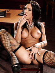 Stunning brunette lesbians Jessica Jaymes and Rebeca Linares playing hot games