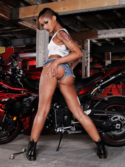 Skinny and sexy Asian babe Skin Diamond shows her tasty ass and sweet boobs