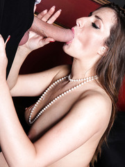 Gorgeous brunette lady Paige Turnah licks a dick and gets pleasure