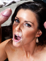 Passionate threesome with a naughty brunette lady India Summer