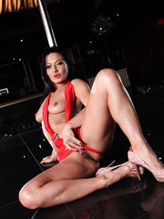 Amazing brunette Sandra Romain dances and gets a dick in the tight asshole