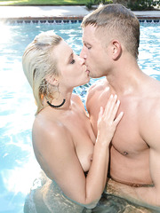 Sweet weekend at the backyard with busty blonde milf Anikka Albrite