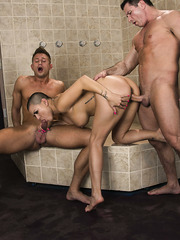 Short haired lady prisoner Eva Angelina gets double penetrated by two big dicks
