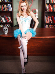 Gorgeous angel Lexi Belle takes off her beautiful dress and poses naked
