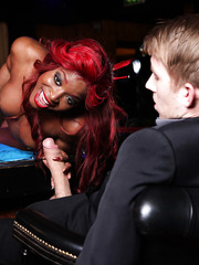 Horny Ebony redhead slut with great big breast Jasmine Webb got white dick in the night club
