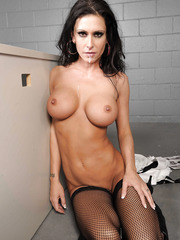 Busty black haired milf Jessica Jaymes enjoys fucking with a big dicked interrogator