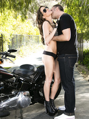 Gorgeous bombshell Kortney Kane gets fucked in the ass by her biker