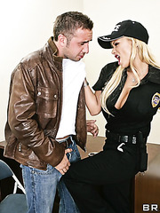 Busty policelady Shyla Stylez fucking with bad boy with a huge dick