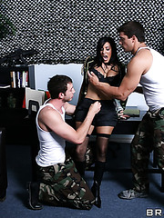 Crazy hot chief Veronica Rayne and two lucky boy with big dicks in the threesome scene