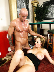 Perfect milf with great appetizing boobs Katie Kox seduces hot bald man