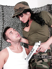 Buxom brunette babe Tory Lane got the biggest pistol in her life