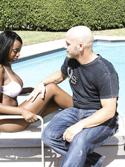 Interracial fucking action with hot and busty Ebony Codi Bryant plus big white cock