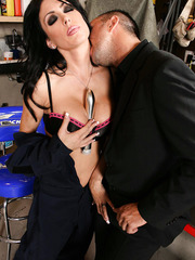 Brunette babe with perfect big round boobs Jessica Jaymes fucked in the garage