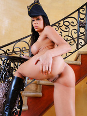 Incredibly hot guard Rachel Starr strips to amaze us with her big tits, sexy ass and long legs