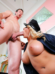 Hot and hungry blonde sheriff Madison Ivy makes this big cock to fuck her shaved pussy