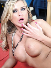 Blonde with large tits McKenzee Miles caught in the locker room and pounded hard