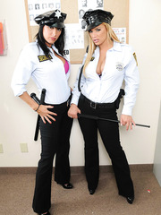Sweetest security guards ever Lezley Zen and Shyla Stylez in the teasing lesbian scene