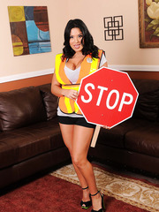 Stop! Dangerously curvy and unforgettable forms by busty brunette Sienna West