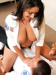 Brunette with big boobs Charley Chase takes off her uniform and fucks lucky man
