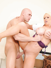 Blonde milf with large breast and ideal pussy Candy Manson uses her own methods of salvation
