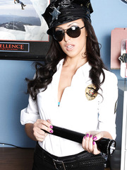 Ambitious cop Breanne Benson doesn't waste her time and spreads her pussy in the office
