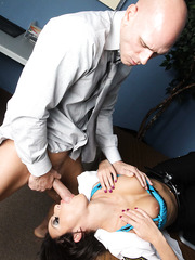 Horny brunette cop Breanne Benson fucking hard but sweet with office worker