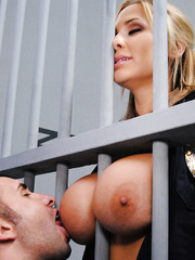 Hot cop with big boobs Alanah Rae becomes hungry and comes to get what she wants
