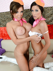Two gorgeous lesbians Kortney Kane and Nikki Monroe taking off sexy uniform