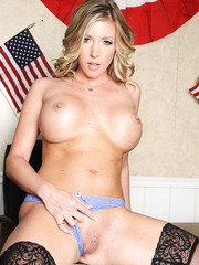 Horny senator Samantha Saint remains in her sexy stockings right in the office