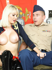 Military blonde milf slut Margo gets fucked by hot and horny recruit