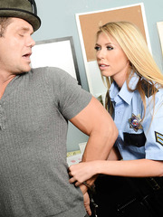 Buxom cop with shaved pussy Brynn Tyler enjoys this hardcore fuck