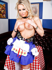 Horny blonde babe Laura Crystal takes off her super sexy dress to amaze us