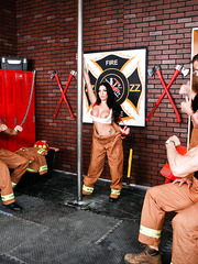 Super hot milf with sexy tits and black hair Emily B doesn't let firefighters to work