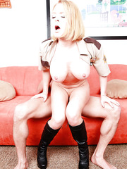 Busty sheriff Krissy Lynn caught a man fucking with sexy blonde slut and seduced him