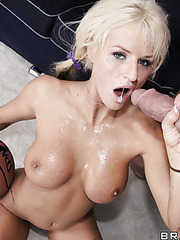 Hot milf Brooke Belle gets a huge basketball trainer's cock in her mouth and pussy