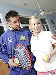 Sexy and pretty blonde Helena Sweet treats lucky sportsman with her delicious body