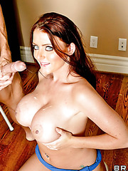 Busty whore Sophie Dee takes a big cock and gives an awesome blowjob