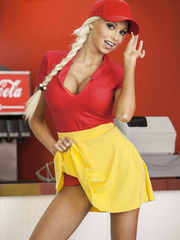 Blonde babe Rikki Six undresses and shows her beautiful body