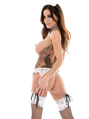 Nasty and horny brunette maid Gia Dimarco shows her hot body and a sweet pussy