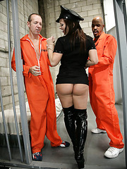 Amazing threesome fuck with a passionate and bad cop named Katja Kassin