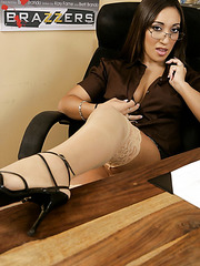 Gorgeous business woman Leone Dulce demonstrates her shaved pussy and a hot ass