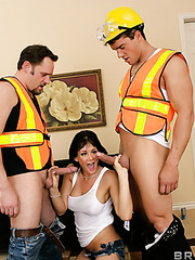 Hardcore threesome action with a dangerous brunette bitch Tory Lane