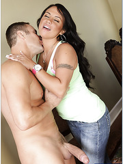 Excellent latina Mariah Milano showing big tits and fucking with a stranger