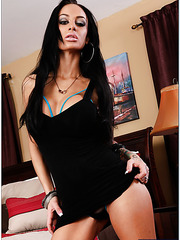 Spicy brunette Angelina Valentine fingering on bed and getting a yummy rod