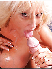 Arrogant mature with gigantic boobs Tia Gunn swallowing a yummy rod