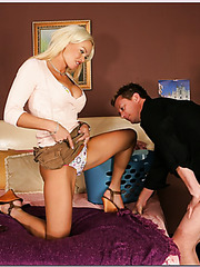Milf slut Rhylee Richards having her mouth penetrated with a big cock