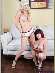 Lesbian milf girls Rebecca Love and Tylene Buck are showing their big tits